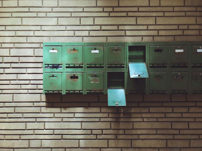 Metallic lockers on wall