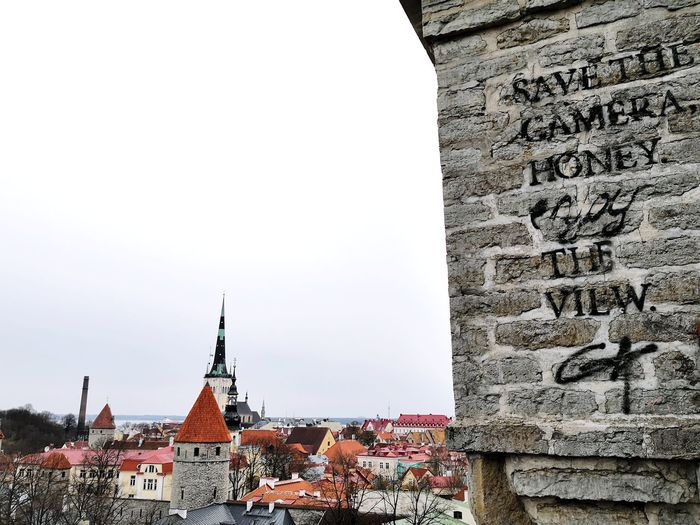 Save the camera, enjoy the view! Witty Comic Relief Tallinn Baltic Countries Culture Estonia Baltics Relaxing City History King - Royal Person Religion Place Of Worship Cityscape Architecture Sky Building Exterior Built Structure Civilization Ancient Civilization Ancient History