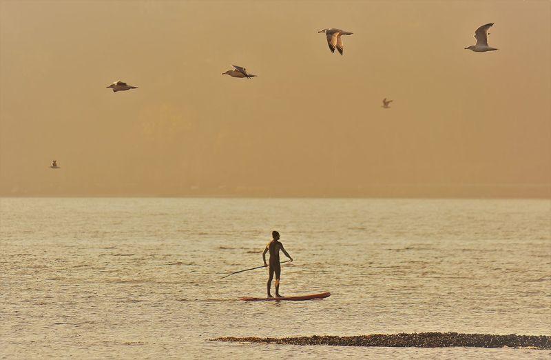 Full length of man flying over sea during sunset