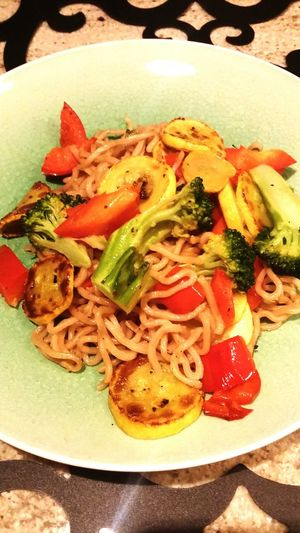 Red pepper, broccoli, yellow squash over wheat yakisoba stir fry noodles without sweet onion sauce Danielfast day 23