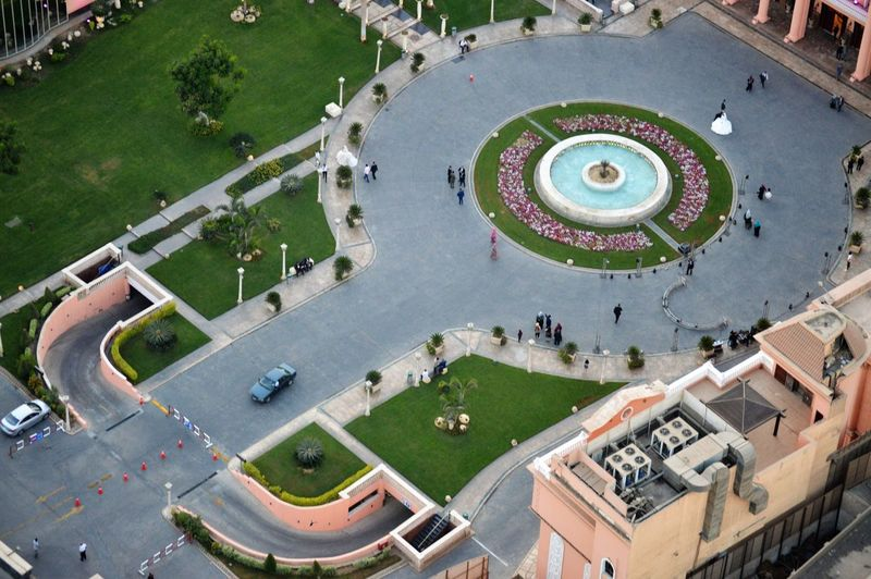 High angle view of a square  in city