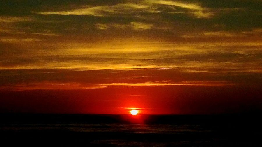 Orange Color End Of The Day Sea And Sky Goodnight Beauty In Nature BIscarrosse Plage France Water Sea Beach Red Silhouette Sun Awe Reflection