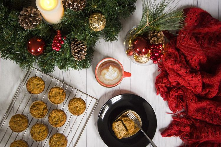Hot winter beverage. Overhead shot of muffins and warm coffee whit christmas decoration. Sweet food. Beverage Coffee Eating Food And Drink Homemade Red Snack Celebration Christmas Christmas Decoration Indoors  Muffin Muffins No People Tea Time Food Stories