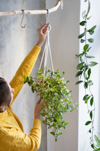 Woman holding potted plant hanging against wall