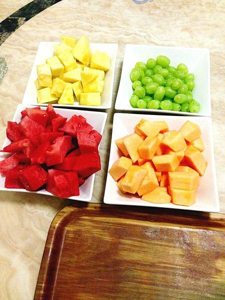 Pineapple Rockmelon Grapes Watermelon ready to make Fruit Sticks Fruitporn Yummy!