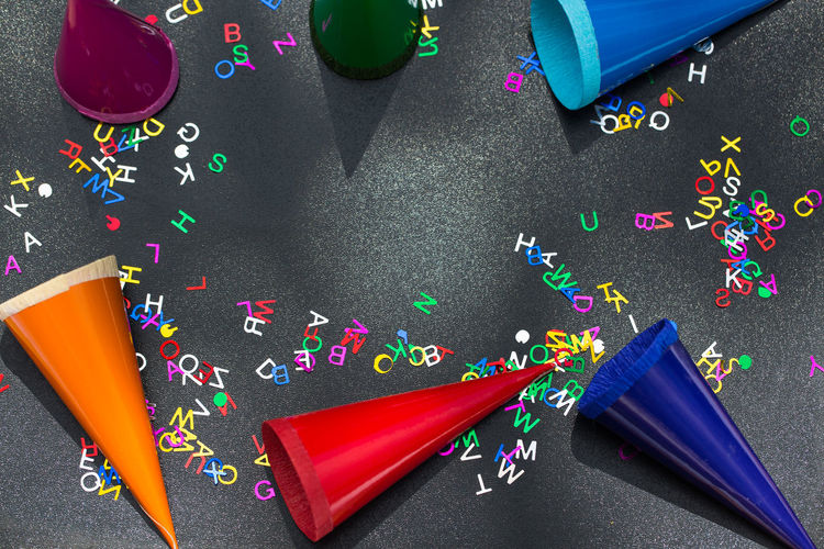 Abc, Chalkboard Celebration Childhood Close-up Confetti Day High Angle View Indoors  Multi Colored No People Paper Party - Social Event School Children Streamer