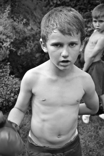 Boxing Brotherhood Brothers Childhood Day Front View Leisure Activity Lifestyles Outdoors People Portrait Real People Shirtless Standing