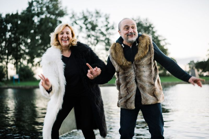 Dancing by the lake Lifestyle Summertime Lake Vinkeveen Two People Water Togetherness Front View Lifestyles Emotion Happiness Real People Positive Emotion Couple - Relationship Bonding Smiling Senior Adult Leisure Activity People Mature Adult Adult Moments Of Happiness
