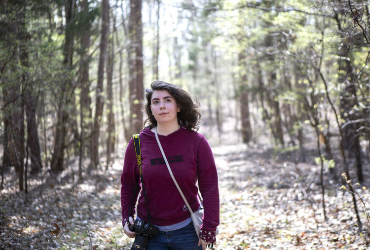 Isabel Miller hikes through a forest where the Battle of Shiloh took place on the 157th anniversary of the battle. Miller's Great-Great-Great Grandfather, George William Akers, of the Illinois 40th Regiment, Company C, fought in the Battle of Shiloh on April 6th, 1862 and lost his arm during the first chaotic morning of the battle. Akers was from White County, Illinois and was a volunteer infantryman. Forest Tree Land Plant WoodLand One Person Standing Young Adult Casual Clothing Leisure Activity Nature Day Lifestyles Front View Hiking Three Quarter Length Adult Portrait Outdoors Contemplation Hiking Woods Shiloh Tennessee Shiloh, Tennessee Battle Of Shiloh Civil War Civil War History William Tecumseh Sherman Monument Woman Stay Out