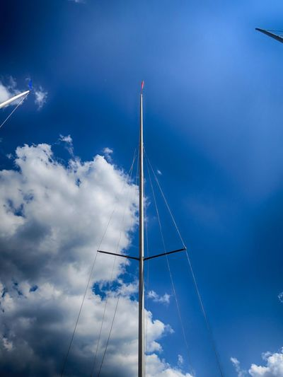 Architecture Blue Built Structure Cloud - Sky Connection Day Low Angle View Mast Metal Mode Of Transportation Nature No People Outdoors Pole Sailboat Sky Tall - High Technology Transportation White Color Summer Exploratorium