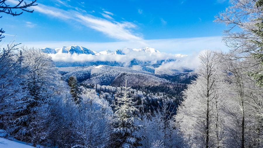 Winter Mountain Blue Motion Sky Close-up Cloud - Sky Snowcapped Mountain Cold Temperature Frozen Snow