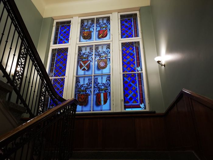 Vitrage City Window Architecture Built Structure Stained Glass Staircase Steps And Staircases Rose Window Architecture And Art Historic Spiral Stairs Stairs Stairway Architectural Feature Hand Rail Railing Steps Spiral Staircase