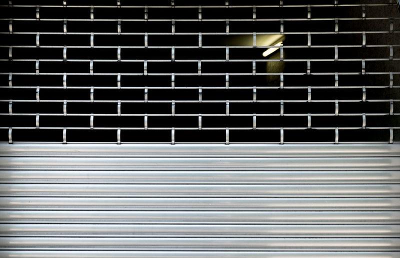 Fluorescent light seen through shutter door