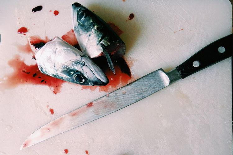 Close-up of preparing seafood