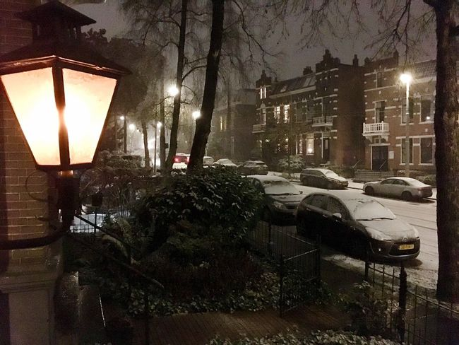 The first signs of winter: snow in Arnhem (NL). Night Snow ❄ City Arnhem Winter Light And Shadow