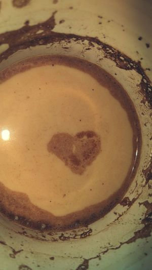 I found a heart in my coffee Happy :) Coffee Time Coffee ☕ Coffee At Home Heart ❤ Ilovecoffee