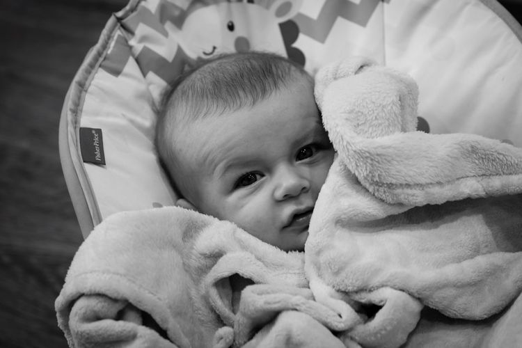 Lewis ❤️ Baby Childhood Blanket Indoors  Babyhood Sleeping Cute Lying Down One Person Comfortable Real People Relaxation Babies Only Day Close-up People Nikonphotography EyeEm Best Shots - Black + White EyeEm Gallery Nikon EyeEm Childhood Memories Boy Grandson