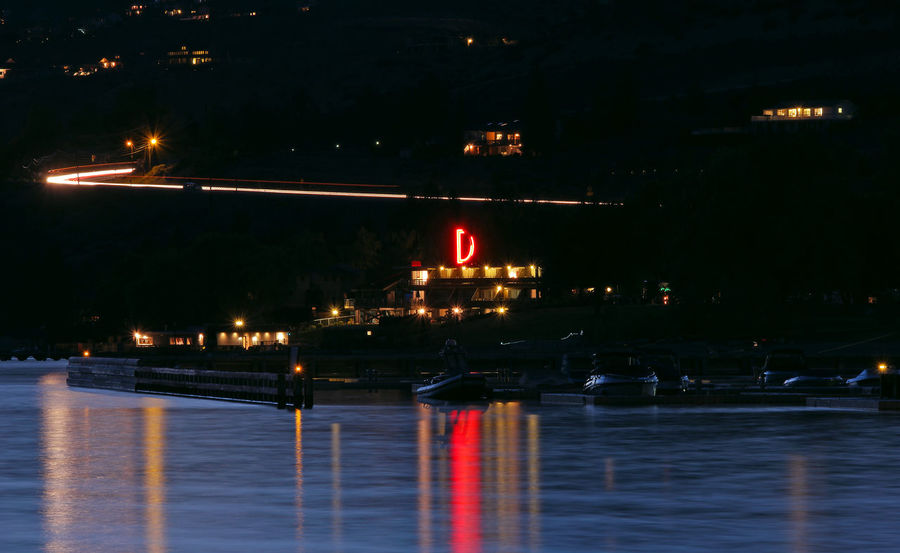 Darnell's Resort on Lake Chelan. Colour Of Life Illuminated Landscape Long Exposure Movement Multi Colored Night Night Lights Night View No People Reflection Reflection Reflection_collection Streaking Streaking Light Water Waterfront Mobility In Mega Cities
