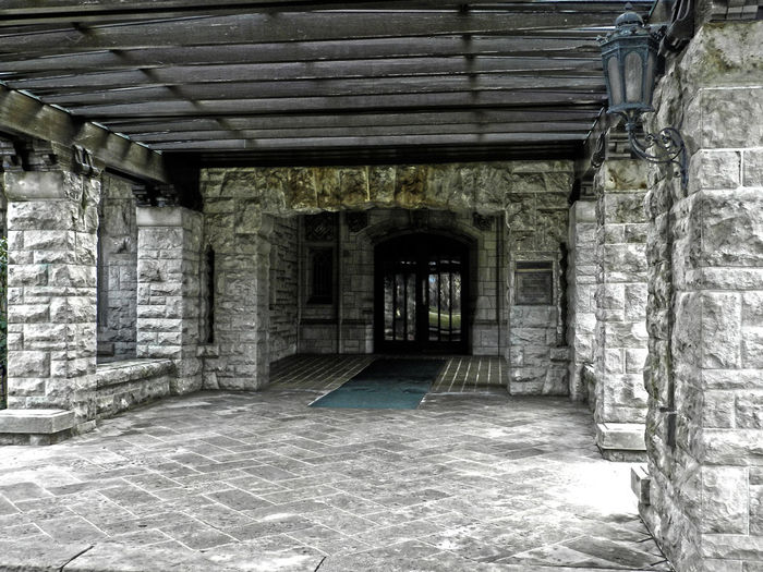 Approach to Henry Ford's Front Door Architecture Building Built Structure Day Empty No People Henry Ford Estate Stone The Path Ahead Dearborn Michigan Stones Pretty Door Doorway Architectural Detail Glass Wood Pattern Scenic Walking Closed Beautiful Art Stone Wall