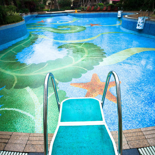 High angle view of swimming pool at playground
