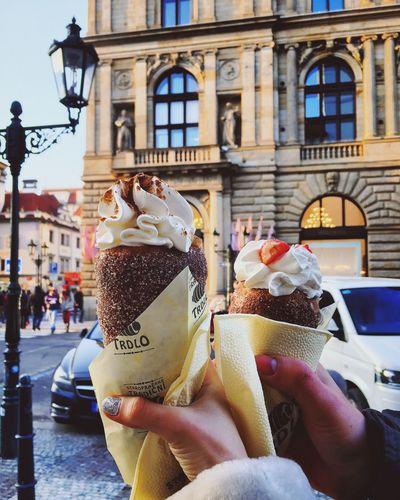 Building Exterior Real People Built Structure Architecture One Person City Lifestyles Indulgence Sweet Food Outdoors Food And Drink Temptation Unhealthy Eating Ice Cream Day Close-up People Adult Trdlo Trdelnik Prague Praha Praga Sweets Street Food