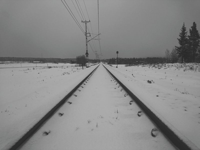 Nature Beauty In Nature Outdoors Cold Temperature No People Snow Winter Sky Day Black&white Black And White Photography Winterland Sweden Norrland Hälsingland November Transport Transportation Railroad Track Railroad Tracks Snowing