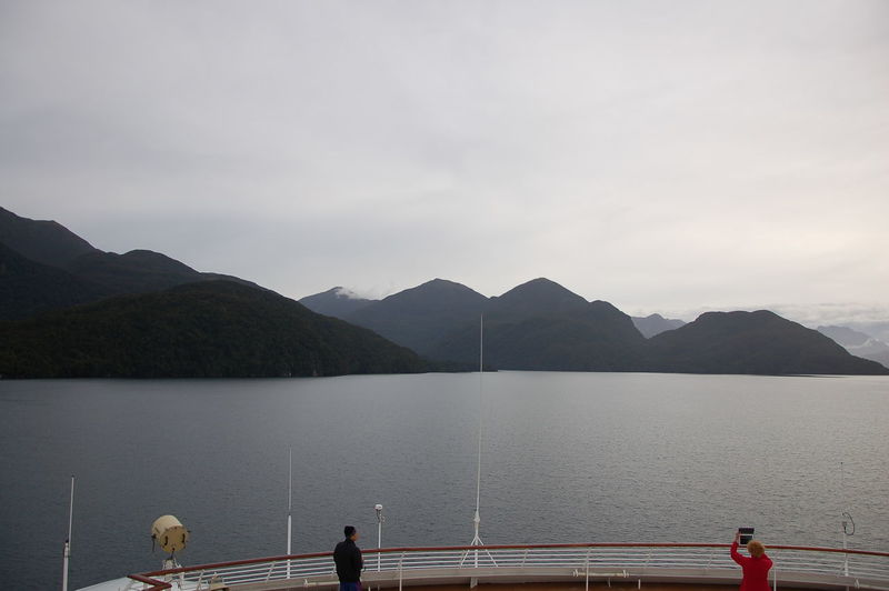 Mountain Water Sky Beauty In Nature Scenics - Nature Nature Mountain Range Cloud - Sky Transportation Men Group Of People Real People Railing Lake Day Nautical Vessel Tranquility Non-urban Scene Outdoors