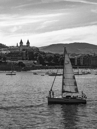 Nautical Vessel Water Transportation Boat Built Structure Building Exterior Mode Of Transport Sailboat Calm Sailing Cloud Nature Tranquility San Sebastian Donostia / San Sebastián Donosti  Black And White Blackandwhite Bnw_collection Ria Palace EyeEm Gallery Check This Out Travel Monochrome Photography