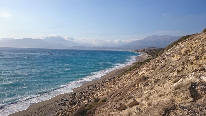 Sea Social Issues Beach Landscape Scenics Outdoors Beauty In Nature No People Day Matala Crete Komos Beach Greece
