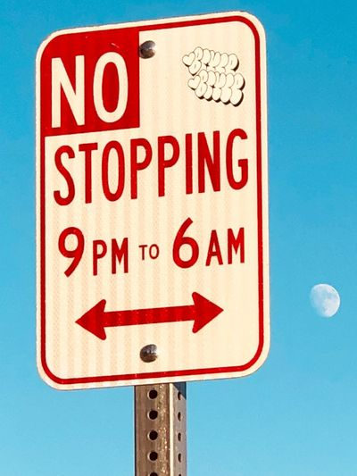 Moon Shots Moon Communication Sign Text Road Sign Red No People Blue