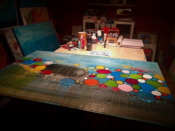 Multi Colored Creativity Art And Craft Indoors  Artist Occupation People Schönster Arbeitsplatz Der Welt Farbe Des Lebens Lichtblicke Positivity Leben Lebensfreude Malen Atelier Kunst Acrylic Painting