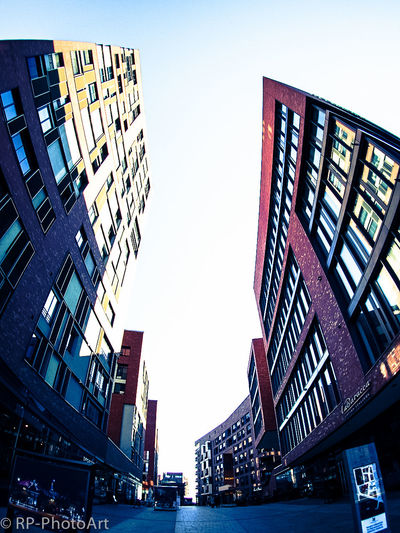 Watch out, falling buildings Hafencity Hamburg Fisheye Tilt Bow Lean Over Bend Inclined Different Perspective Weird Different Sloping Ueberseequartier Architecture Architecture_collection