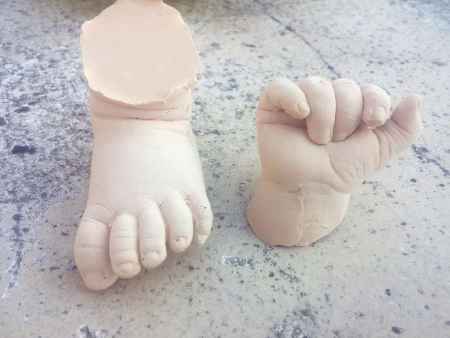 Moulding of my daughter's hand and foot in plaster Hand Handmade Footprints Moulding Mould Plaster Plastering Daughter Baby Babygirl