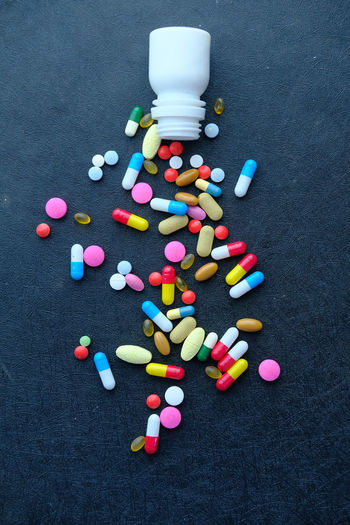 Top view of pills spilling