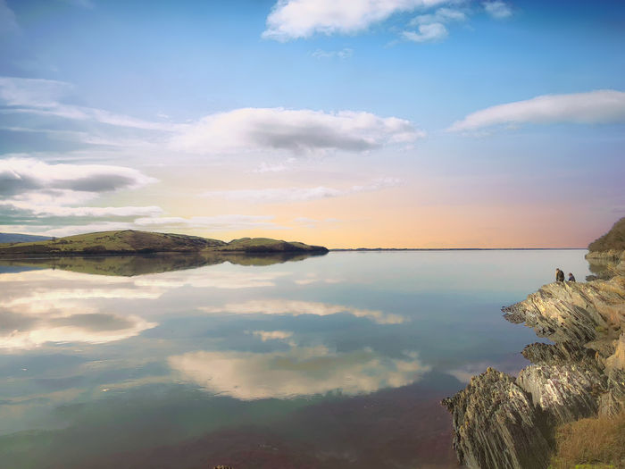 Morning sunrise at Portmeirion Sky Water Cloud - Sky Tranquility Beauty In Nature Scenics - Nature Tranquil Scene Sea Nature Reflection No People Land Idyllic Horizon Non-urban Scene Rock Beach Outdoors Horizon Over Water