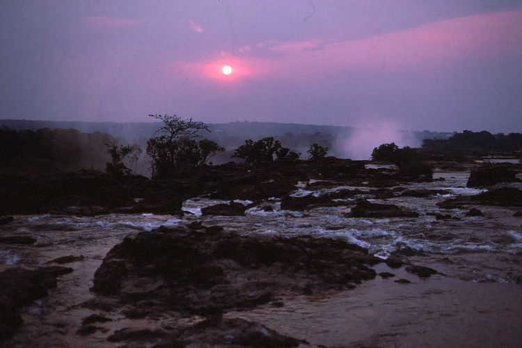 Sunset at Top of Victoria Falls Beauty In Nature Cloudy Sky Composition Full Frame Livingstone  Nature No People Pink Sky Ripples In The Water River Rock Spray Sunset Top Of Waterfalls Tourism Tourist Attraction  Trees Victoria Falls Water Waterfalls Zambia