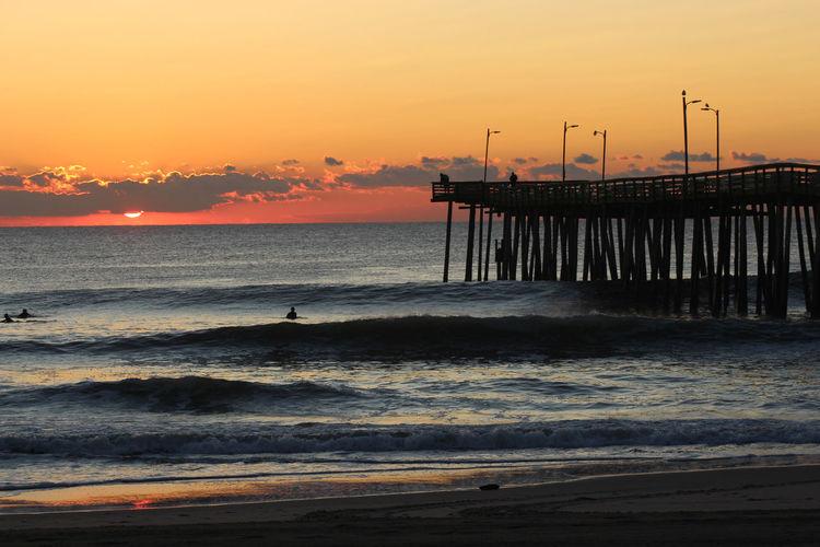 Beach Photography Pier Vacations Virginia Beach Beach Beauty In Nature Ocean Sand Sunrise Sunset Water Waves, Ocean, Nature