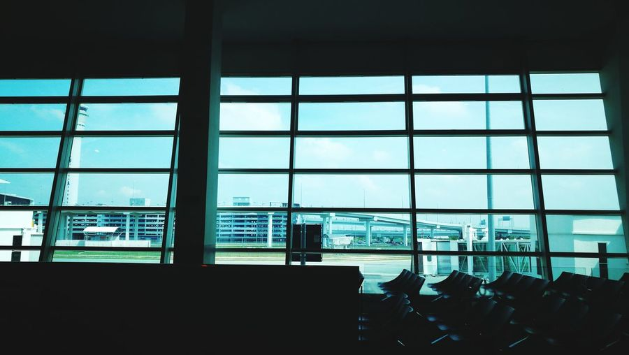 Airport Departure Area Water Modern Skyscraper Airport City Sea Office Window Business Finance And Industry Airport Terminal Transportation Building - Type Of Building Arrival Departure Board Airplane Ticket Rail Transportation Airport Runway Airport Check-in Counter