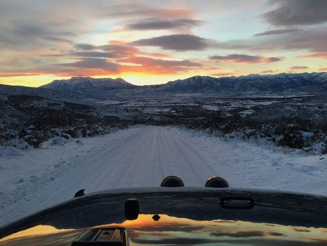 winter showed up in Utah. Wasatch County Wasatch Back Country Road Transportation Sunset Cloud - Sky Land Vehicle Nature Mode Of Transport Car Snow Mountain