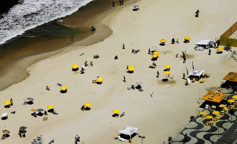 Copacabana Copacabana Beach Bird Eyes View High Angle View Yellow Color Riodejaneiro Brazil