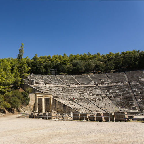 Epidauros Amphitheatre Ancient Civilization Antique Architecture Asklipieío Building Exterior Built Structure Clear Sky Culture Day Epidauros Greece Holidays House Nature No People Outdoors Sky Tree