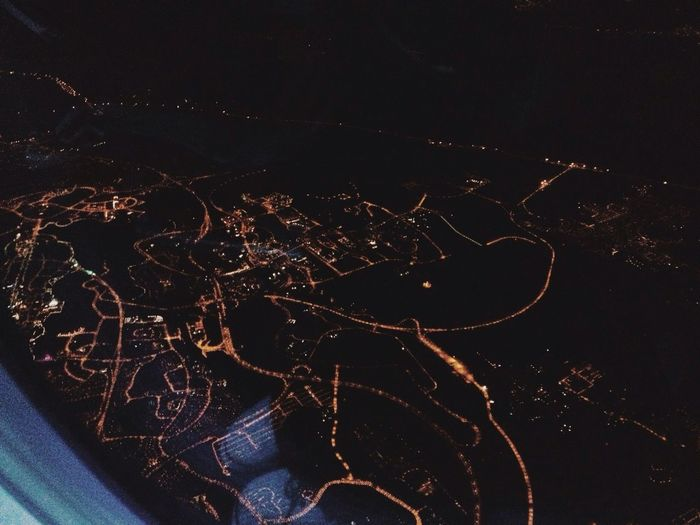Diamonds of the night :) From An Airplane Window Night View Under The Black Sky Fly