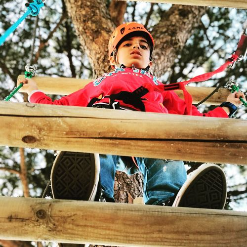 Low Angle View Of Boy Standing On Footbridge Against Tree