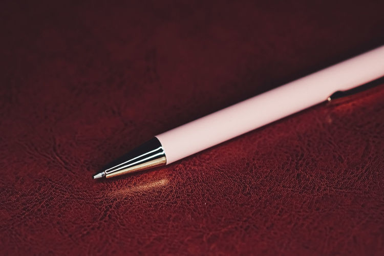 Close-up of pen with diary