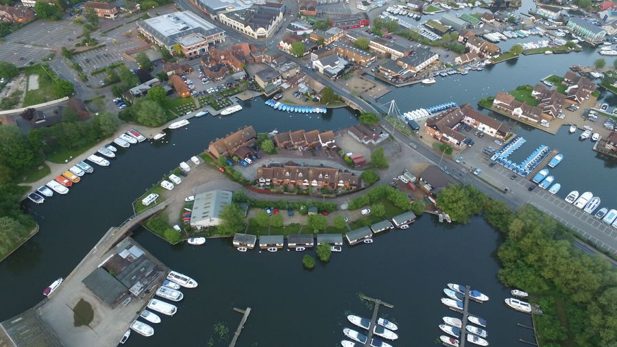 Aerial View Norfolkbroads Neighborhood Map Building Exterior High Angle View Water Residential Building Residential  Town Roof Outdoors Residential  Modern Tree Built Structure Architecture Day No People
