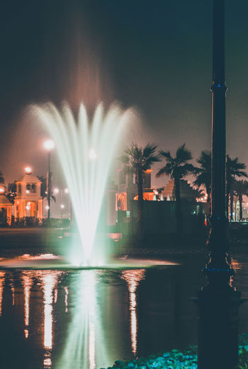 View of fountain at night