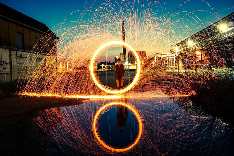 Girl with fire f Circle Motion Fireworks Lights In The Dark Feuer Und Flamme Bluehour