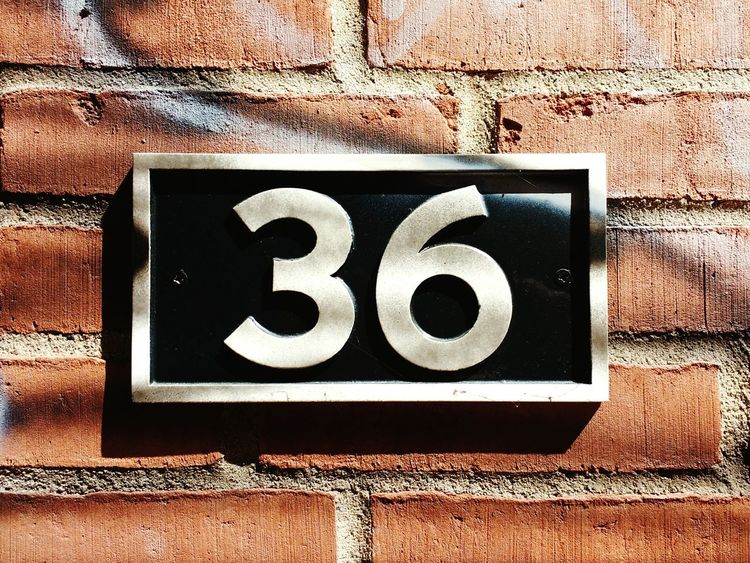 Numbers Number Outdoors Day Built Structure No People Close-up Building Exterior Housenumber 36 Numberplate Bricks Bricks In The Wall Bricks And Mortar