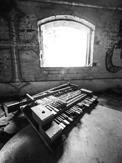 Abandoned Black And White Blackandwhite Brewery Day Derelict Factory Indoors  No People Piano Table Urbex