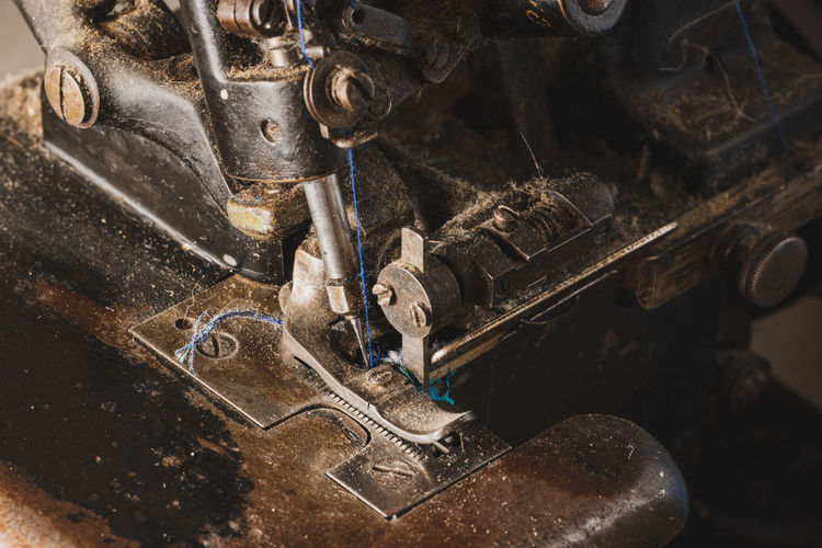 High angle view of machine part